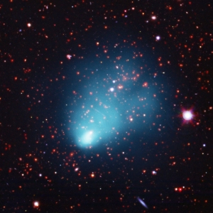 image A galaxy cluster located about 7 billion light years from Earth.