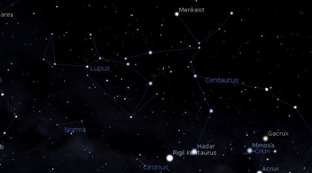 sky map showing constellations of Lupus and Norma